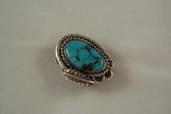 RESERVED Vintage Navajo Turquoise & Sterling Silver Bennett Bolo Pendant Slide