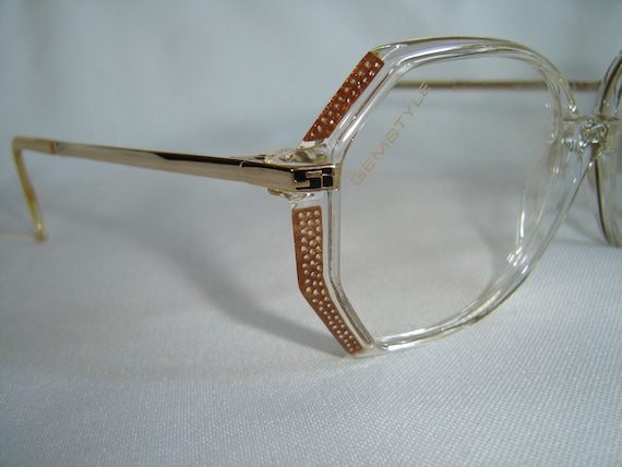 Vintage '80's Eyeglasses, West Germany, Facet Cut, Brown Polka Dots/Crystal, w/ Gold Temples - New Old Stock