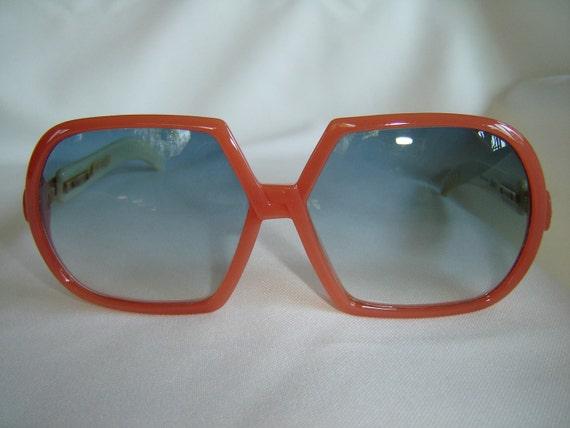 Vintage '80's Oversize Sunglasses, Austria, Peach/Cream, New Old Stock, Rare