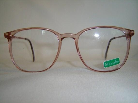 Vintage '80'S Oversize Benetton Eyeglasses, Lt. Pink Rose, Round Preppy Shape - New Old Stock