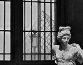 Louvre Angel in Paris b&w photo