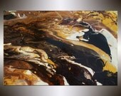 "Original 36""x24"" Stretched Large Brown, Cream, & Yellow  Painting Abstract Art by DAY Free Shipping"