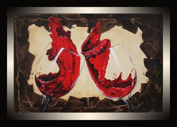 Red Wine Painting Abstract Original Stretched Canvas Acrylic
