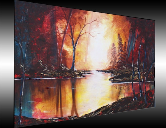 Landscape Painting Tree Paintings Painting on Canvas Original Paintings Forest painting Woods Large Painting Wall Art by Heather DAY