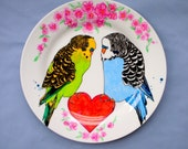 Hand Drawn Budgies Dinner Plate