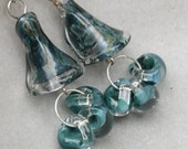 SALE Art Glass and Sterling Silver Earrings SS Caribean Blue Teal Teardrop Tumble