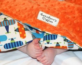 Airplane Minky Baby Blanket - Ready Set Go Airplane in  Bright Organic Minky Baby Blanket With Orange Dot Minky For Your Little Pilot