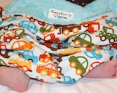 Organic Ready, Set, Go Cars Strollin Blanket With Tiffany Blue Dot Minky For Your Little Driver
