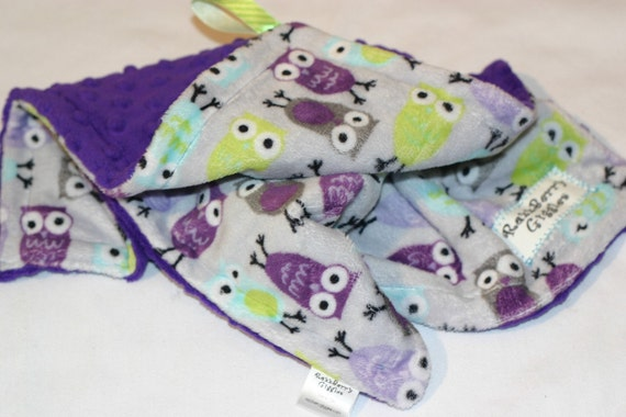 Purple Owl Lovie Reversible Blanket With Purple Dot Minky For Your Baby Bird