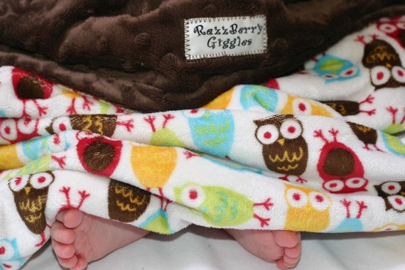 READY TO SHIP-Gender Neutral Minky Baby Blanket- Night Owl Mango Minky Baby Blanket With Brown Dot Minky For Your Baby Boy