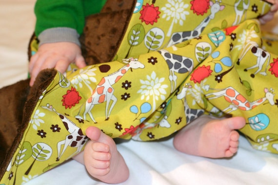 Giraffe Garden Minky Baby Blanket With Chocolate Minky For Your Little One