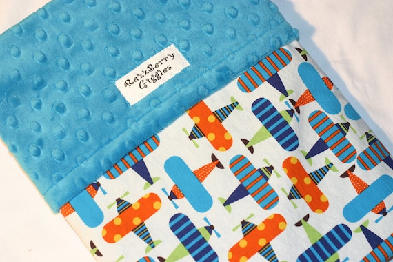 Organic Ready Set Go Airplanes Minky Baby Blanket With Turqoise Blue Dot Minky For Your Little Pilot