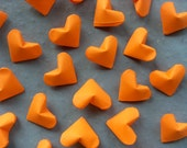 Blaze Orange Origami Hearts, set of 24.  Neon, Fluorescent, Shocking Orange, Halloween.