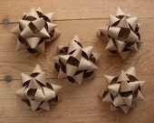 Handmade Gift Bows from a Brown Grocery Bag, set of 5. Reduce, Reuse, Upcycle.