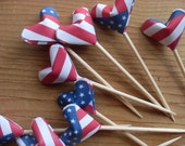 ON SALE  Patriotic Party Picks or Cupcake Toppers, Origami Hearts, set of 12. Picnic Accessory, Fourth of July.