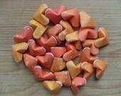Orange Stardust Origami Hearts, set of 24.  Bright Orange Stars, Paper Hearts.