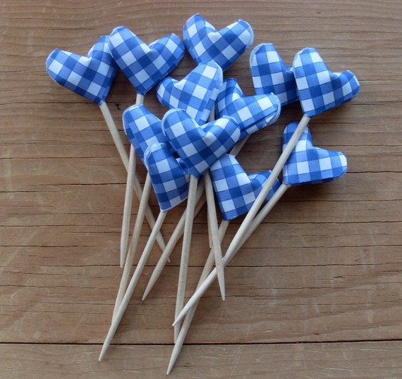 RESERVED for Anne, Blue Gingham Picnic Picks, set of 24.