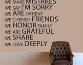 Wall quotes - IN THIS HOME - Vinyl Wall Art Quote