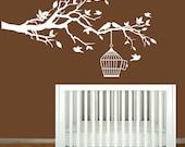 Vinyl Wall Decals - Nursery White Tree Branch - Nursery Wall Art