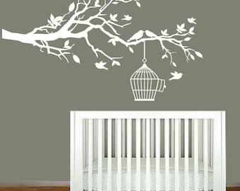 Vinyl Wall Decals - Children's White Tree Branch - Nursery Wall Art