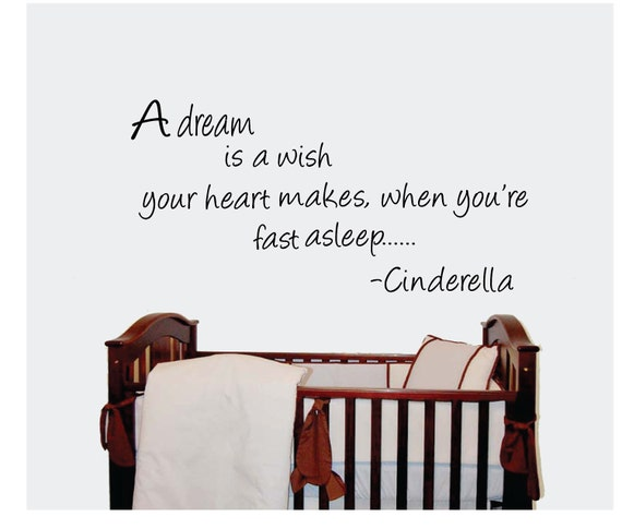 Childrens wall art quote - A dream wall by Cinderella