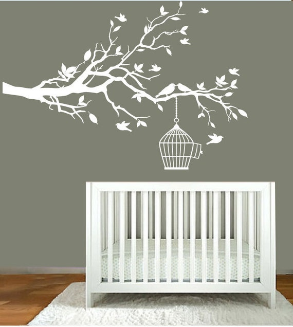 Vinyl Wall Decals - Nursery White Tree Branch - Nursery Wall Art