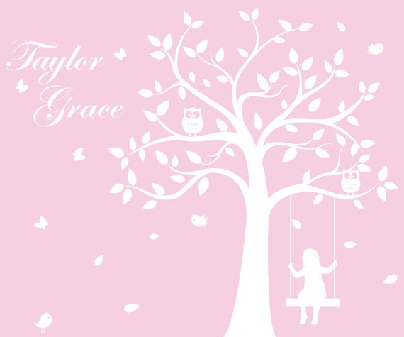 Children's Tree Decal - Vinyl Wall Decals - nursery decals with Butterflies,Birds,Swing & kid