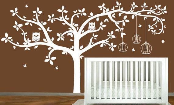 Childrens Tree Decal Vinyl Wall Decals Children Decals with Butterflies,owls,birdcage