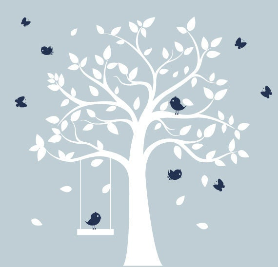 Nursery tree decal white tree with birds & by ModernWallDecal