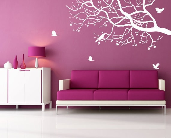 Wall Decor Bird Design : Wall decal white tree branch with birds art designs