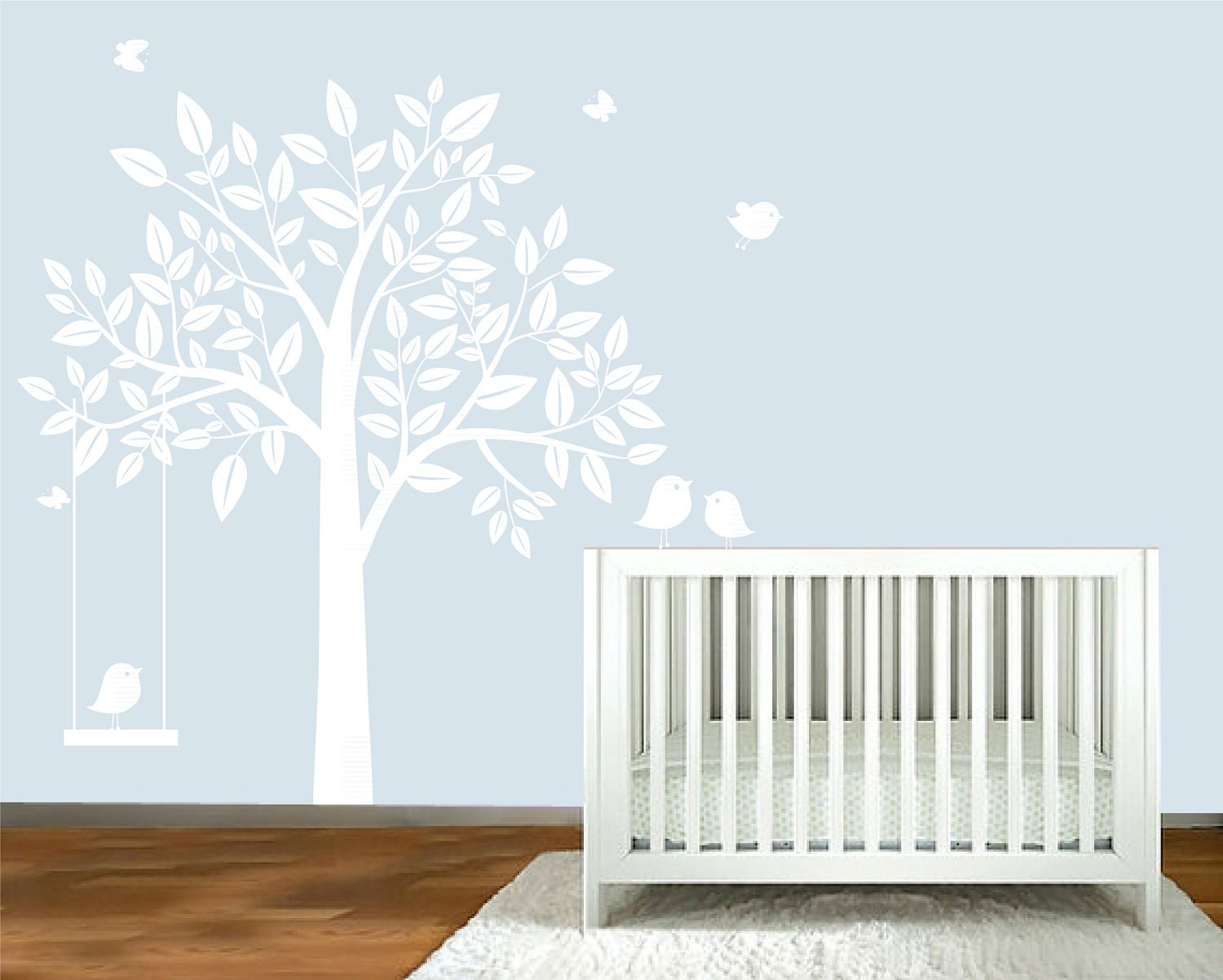 Wall decal white silhouette tree nursery wall by for Baby girl nursery mural