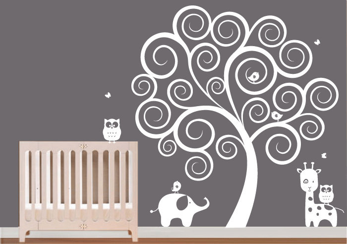 wall decal : white swirl tree with owls & by ModernWallDecal