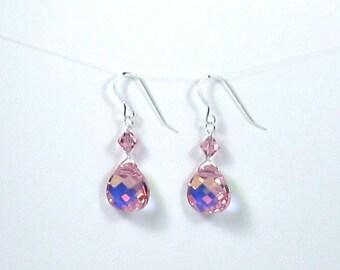 Pink Earrings, Rose Swarovski Crystal Briolette Earrings