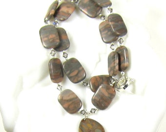 Brown Jasper Necklace Earrings Combo, Heart Bamboo Jasper Necklace and Earring Set