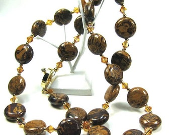 Jasper Necklace Earring Combo, Elephant Skin Jasper and Topaz Swarovski Crystal  Necklace and Earring Set