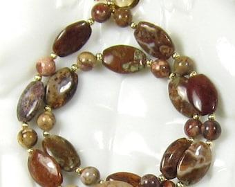 Brown Gemstone Necklace Earring Combo, Birdseye Rhyolite Gemstone Necklace and Earring Set