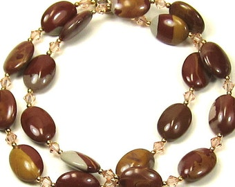 Rust, Tan and Beige Necklace Mookaite Gemstone and Peach Swarovski Crystals Necklace