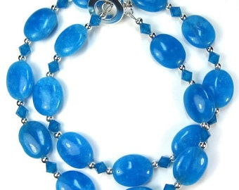 Blue Necklace Combo Dyed Agate Gemstone Necklace and Earring Set, Swarovski Crystals