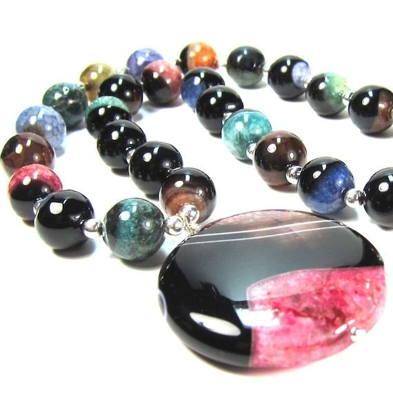 Necklace of Multi Color Onyx Gemstone Beads with Druzy Pendant