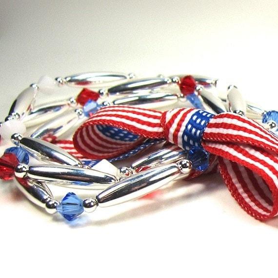 Red White and Blue Bracelet Flag Set Swarovski Crystals