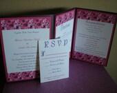 Purple and Pink Floral Accordian Metallic Invitation Set