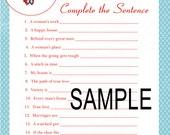 Retro Bridal Shower Game-Complete The Sentence (Digital File)