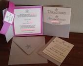 Pink and Ivory Starfish Beach Pocketfold Wedding Invitation Set