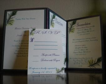 Purple and Teal Peacock Wedding Invitations