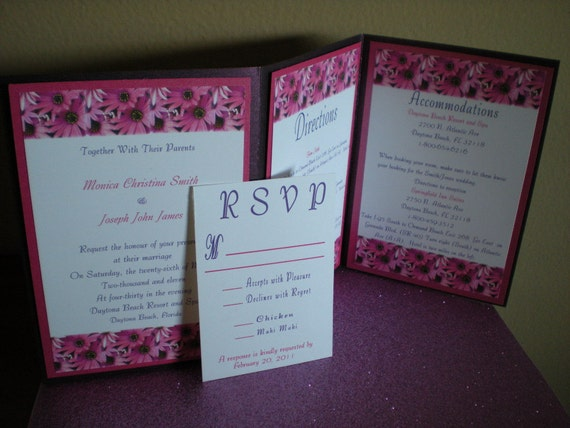 Purple and Pink Floral Accordian Metallic Invitation Set