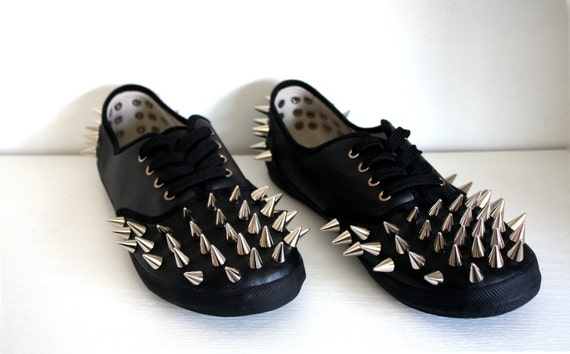 Spiked Faux Leather Plimsolls - Black