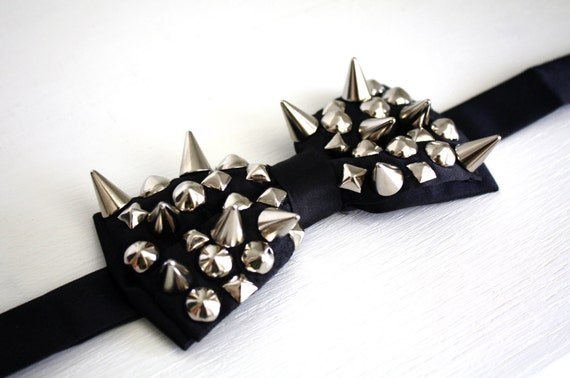 Spiked and Studded Bow Tie - Black