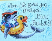 Dimensions - Counted CROSS STITCH PATTERN Chart Kit - Blow Bubbles Dolphin