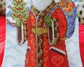 Barbara Sestok NORDIC SANTA Christmas STOCKING - Counted Cross Stitch Pattern Chart - fam