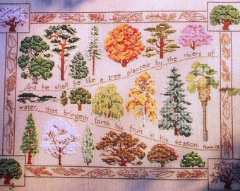 Vintage In PRAISE OF TREES Sampler - Counted Cross Stitch Pattern Chart - fam